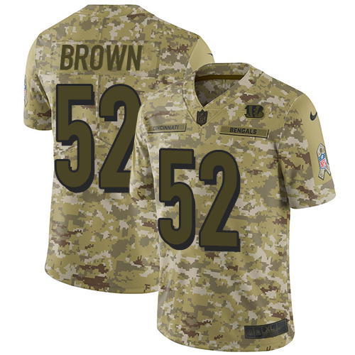 Youth Preston Brown Camo Limited Football Jersey: Cincinnati Bengals #52 2018 Salute to Service  Jersey