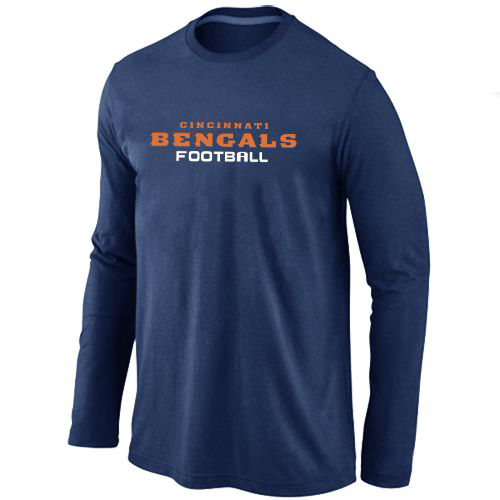 Cincinnati Bengals Authentic Font Long Sleeve Football T-Shirt - Dark Blue