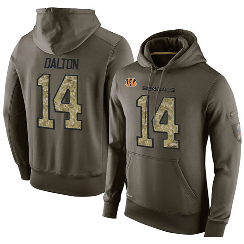 Football  Cincinnati Bengals #14 Andy Dalton Green Salute To Service Men's Pullover Hoodie