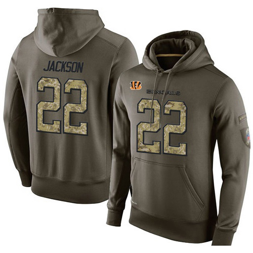 Football  Cincinnati Bengals #22 William Jackson Green Salute To Service Men's Pullover Hoodie