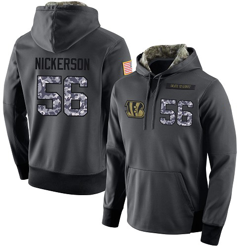 Football Men's  Cincinnati Bengals #56 Hardy Nickerson Stitched Black Anthracite Salute to Service Player Performance Hoodie