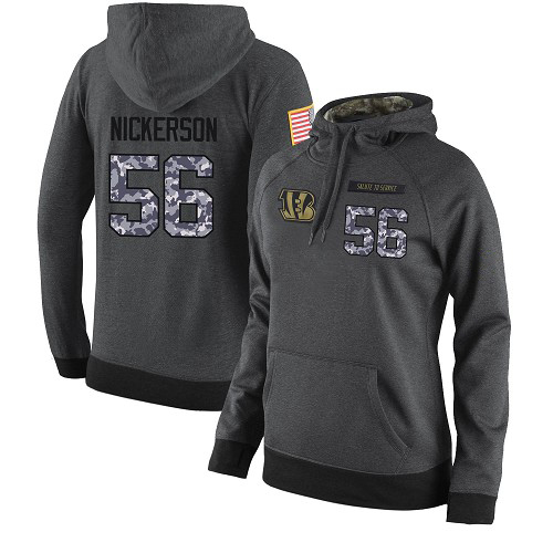 Football Women's  Cincinnati Bengals #56 Hardy Nickerson Stitched Black Anthracite Salute to Service Player Performance Hoodie