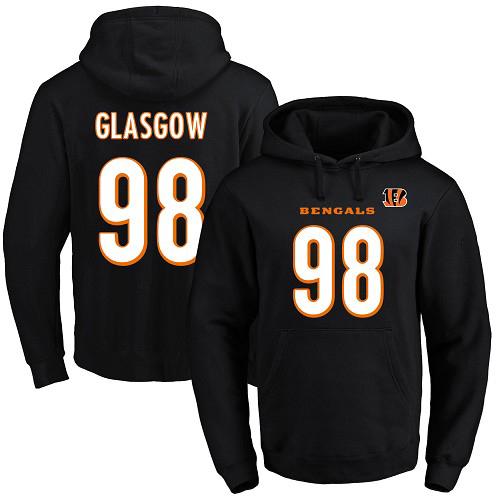 Football Men's  Cincinnati Bengals #98 Ryan Glasgow Black Name & Number Pullover Hoodie